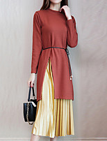 Women's Daily Going out Boho Street chic Sophisticated Sweater Skirt Suits,Solid