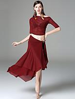 Danza del Vientre Accesorios Mujer Actuación Rayón Plisados La mitad de manga Cintura Baja Tops Bufanda Hip y cinta de Danza del vientre