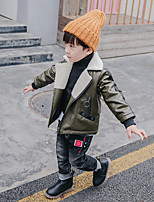 Boys' Solid Blouse,Synthetic Leather Winter Long Sleeves Regular