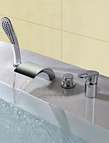 Contemporary Modern Style Widespread Waterfall Handshower Included High Quality Single Handle Four Holes for  Chrome , Bathtub Faucet