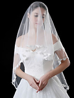 cheap -Two-tier Classy Lace Wedding Veil Elbow Veils 53 Embroidery Ruffles Lace Tulle