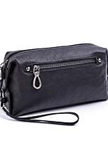 Men Bags All Season Sheepskin Clutch Zipper for Wear to work Black