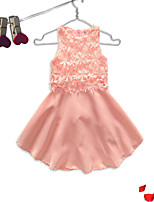 cheap -Girl's Birthday Going out Solid Floral Lace Printing Dress,Cotton Sleeveless Cute Casual Princess Blushing Pink