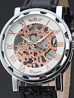 WINNER Homme Montre Habillée Montre Bracelet Chinois Remontage manuel Gravure ajourée Cuir Bande Rétro Elégant Noir