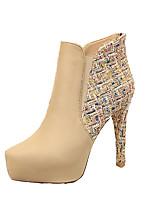 preiswerte -Damen Schuhe Kunstleder Herbst Winter Komfort Stiefel Booties / Stiefeletten Für Normal Kleid Schwarz Mandelfarben