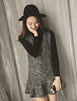 Women's Daily Going out Casual Fall Sweater Skirt Suits,Solid High Neck Long Sleeves Others
