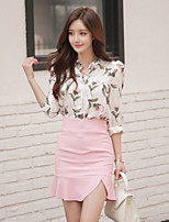 Women's Daily Casual Fall Shirt Skirt Suits,Floral Shirt Collar Long Sleeves Others