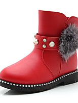 cheap -Girls' Shoes Leatherette Winter Fall Comfort Snow Boots Boots Walking Shoes Booties/Ankle Boots Mid-Calf Boots Rhinestone Pom-pom For