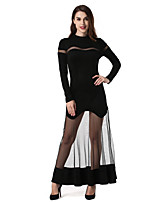 SUOQI Women's Party Club Sexy Shift Sheath Dress,Solid Crew Neck Maxi Long Sleeve Mesh/Net Synthetic Leather All Seasons Medium Waist