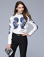 economico -Camicia Da donna Per uscire Casual Vintage Autunno,Con stampe Monocolore Colletto 100% poliestere Manica lunga Medio spessore