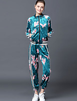 Women's Going out Street chic Fall Set Pant Suits,Floral Stand Long Sleeve