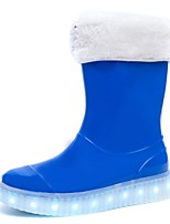 Boys' Shoes Synthetic Microfiber PU All Season Light Up Shoes Rain Boots Boots Mid-Calf Boots For Casual Outdoor Pink Blue Black