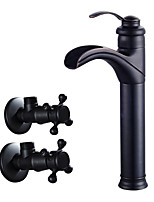 cheap -Art Deco / Retro Centerset Waterfall Ceramic Valve Single Handle One Hole Oil-rubbed Bronze , Bathroom Sink Faucet