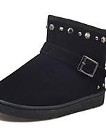 abordables -Mujer Zapatos PU Invierno Botas de nieve Forro de piel Botas Tacón Plano Dedo redondo Mitad de Gemelo Para Casual Negro Gris