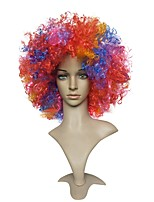 Women Synthetic Wig Capless Short Jerry Curl Rainbow African American Wig Party Wig Celebrity Wig Halloween Wig Fan Wig Cosplay Wig