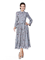 Women's Going out Casual/Daily Street chic A Line Sheath Swing Dress,Print Shirt Collar Midi Long Sleeve Cotton Polyester Spring Fall