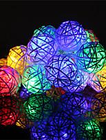 1 pcs hkv® 4 m 20led 8 modes de travail led lampe de fée avec exquise boules de rotin noël fête de noce lumière ac 220-240 v