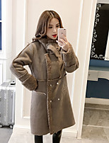 cheap -Women's Casual/Daily Simple Winter Fall Fur Coat,Solid Shirt Collar Long Sleeve Long Faux Fur