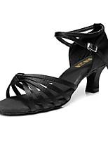 Women's Latin Silk Sandal Indoor Buckle Customized Heel Nude Black/Gold Brown Black Customizable