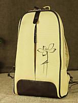 Women Bags Canvas Backpack Zipper for Casual All Season Beige