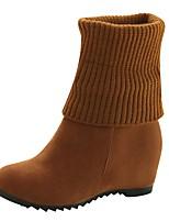 abordables -Mujer Zapatos PU Invierno Confort Botas de Combate Botas Dedo redondo Mitad de Gemelo Cuentas Para Casual Negro Amarillo