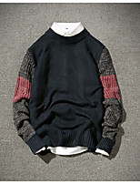Men's Daily Short Pullover,Solid Color Block Round Neck Long Sleeves Acrylic Winter Fall Medium Micro-elastic