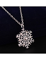 Women's Pendant Necklaces Snowflake Rhinestone Alloy Cute Style Fashion Jewelry For Party Daily