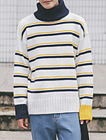 Men's Daily Regular Pullover,Solid Round Neck Long Sleeves Cotton Acrylic Others Fall/Autumn Medium strenchy