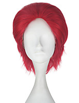 cheap -Men Unisex 33cm Short Straight Hair Synthetic Red Wig Color Halloween Cosplay Costume Wigs Role play wigs