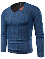 Men's Plus Size Casual/Daily Simple Street chic Regular Pullover,Solid V Neck Long Sleeves Cotton Others Fall Winter Thick Micro-elastic