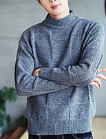 Men's Casual/Daily Regular Pullover,Solid Turtleneck Long Sleeves Acrylic Fall Winter Medium Micro-elastic