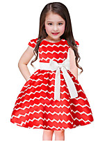 Girl's Print Dress,Cotton Polyester Short Sleeves