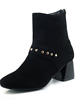 abordables -Mujer Zapatos Semicuero Invierno Botas de Moda Botas Tacón Cuadrado Dedo cuadrada Mitad de Gemelo Remache Para Vestido Negro Amarillo