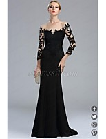 cheap -Mermaid / Trumpet Illusion Neck Sweep / Brush Train Chiffon / Lace / Jersey Formal Evening Dress with Appliques / Lace / Pleats by TS Couture® / Illusion Sleeve