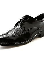 Для мужчин обувь Натуральная кожа Наппа Leather Весна Осень Удобная обувь Туфли на шнуровке для Повседневные Черный Серебряный Красный