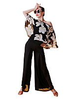 Latin Dance Tops Women's Performance Chiffon Satin Ice Silk Pattern / Print 3/4 Length Sleeve Tops