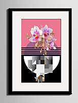 cheap -Floral/Botanical Landscape Abstract Framed Canvas Framed Set Wall Art,PVC Material With Frame For Home Decoration Frame Art Living Room
