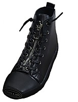 cheap -Women's Shoes PU Winter Combat Boots Boots Round Toe Mid-Calf Boots For Casual Black White