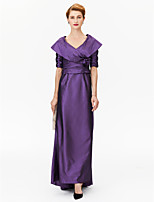 A-Line Princess V-neck Asymmetrical Satin Stretch Satin Mother of the Bride Dress with Flower(s) Pleats Ruching by LAN TING BRIDE®