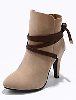 preiswerte -Damen Schuhe Kunstleder Winter Modische Stiefel Stiefel Creepers Runde Zehe Booties / Stiefeletten Für Kleid Schwarz Braun Rot