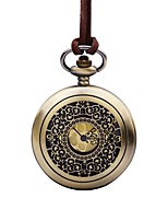 Women's Pocket Watch Chinese Quartz Casual Watch Leather Band Vintage Elegant Brown