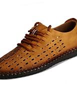 Для мужчин обувь Искусственное волокно Лето Удобная обувь Сандалии Ноль Ноль / Назначение Повседневные Черный Желтый Хаки
