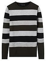 Для мужчин На каждый день Простой Обычный Пуловер Однотонный Полоски,Круглый вырез Длинный рукав Полиэстер Зима Осень Толстая