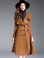 Women's Daily Going out Simple Casual Street chic Sophisticated Winter Fall Trench Coat,Solid Regular Polyester