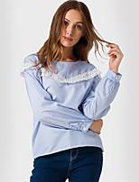 Camicia Da donna Per eventi Casual Moda città Monocolore Rotonda Poliestere Manica lunga