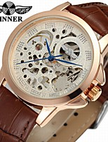 cheap -WINNER Men's Fashion Watch Dress Watch Wrist watch Automatic self-winding Hollow Engraving Leather Band Vintage Casual Cool Black Brown