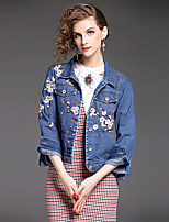cheap -Women's Daily Simple Casual Winter Fall Denim Jacket,Solid Print Shirt Collar Long Sleeve Short Cotton Embroidered