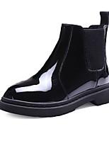 preiswerte -Damen Schuhe PU Winter Springerstiefel Stiefel Runde Zehe Mittelhohe Stiefel Für Normal Schwarz