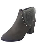 Damen Schuhe Nubukleder Frühling Herbst Komfort Stiefeletten Stiefel Für Normal Schwarz Armeegrün