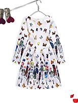 Robe Fille de Soirée / Fête Quotidien Coton Polyester Manches Longues